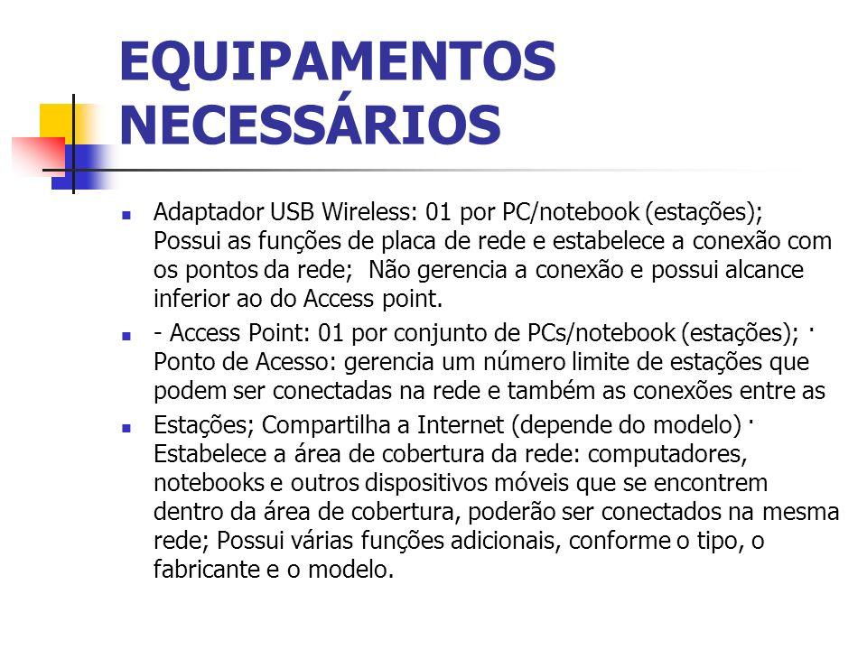 EQUIPAMENTOS NECESSÁRIOS Adaptador USB Wireless: 01 por PC/notebook (estações); Possui as funções de placa de rede e estabelece a conexão com os ponto