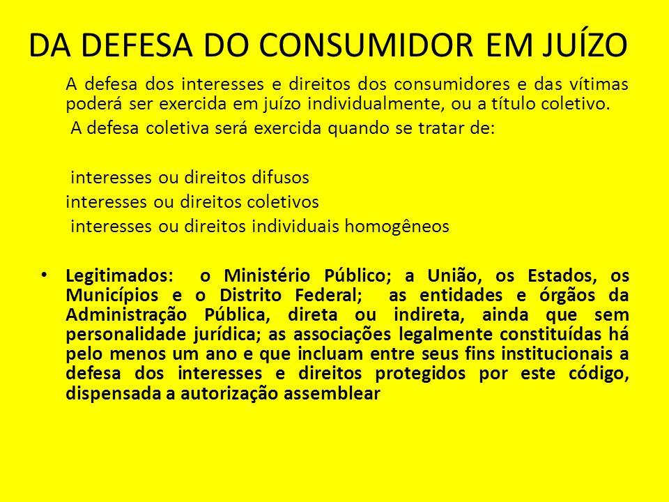 DA DEFESA DO CONSUMIDOR EM JUÍZO A defesa dos interesses e direitos dos consumidores e das vítimas poderá ser exercida em juízo individualmente, ou a título coletivo.