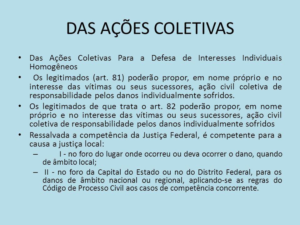 DAS AÇÕES COLETIVAS Das Ações Coletivas Para a Defesa de Interesses Individuais Homogêneos Os legitimados (art.