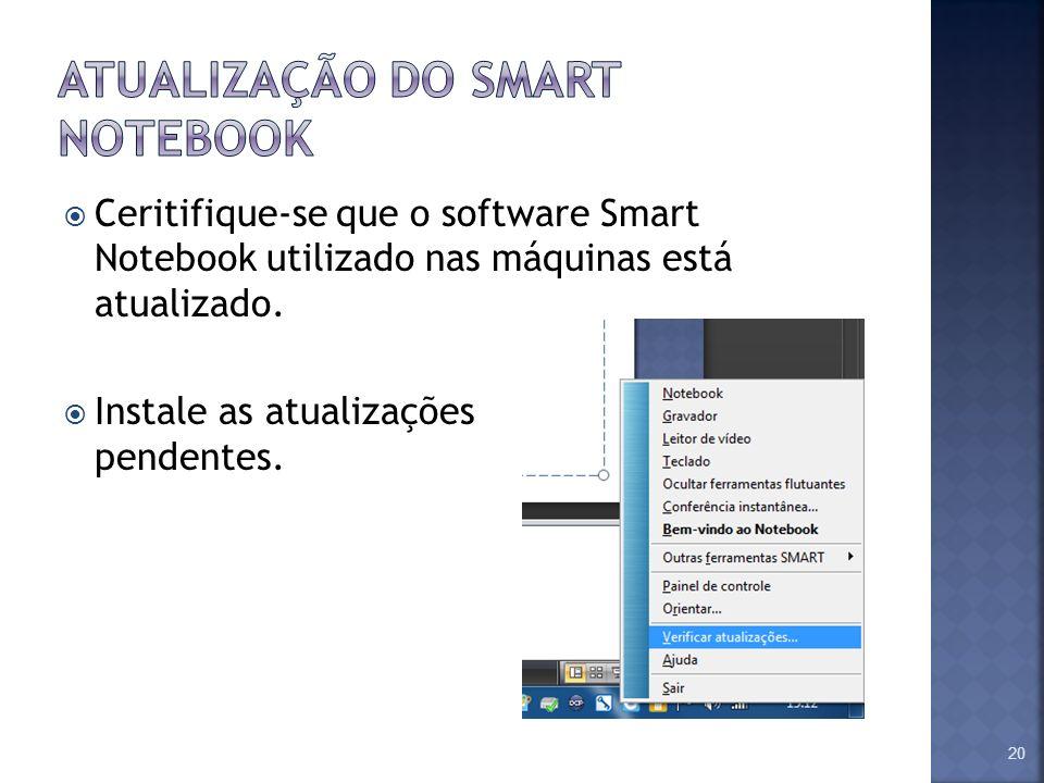 Ceritifique-se que o software Smart Notebook utilizado nas máquinas está atualizado. Instale as atualizações pendentes. 20