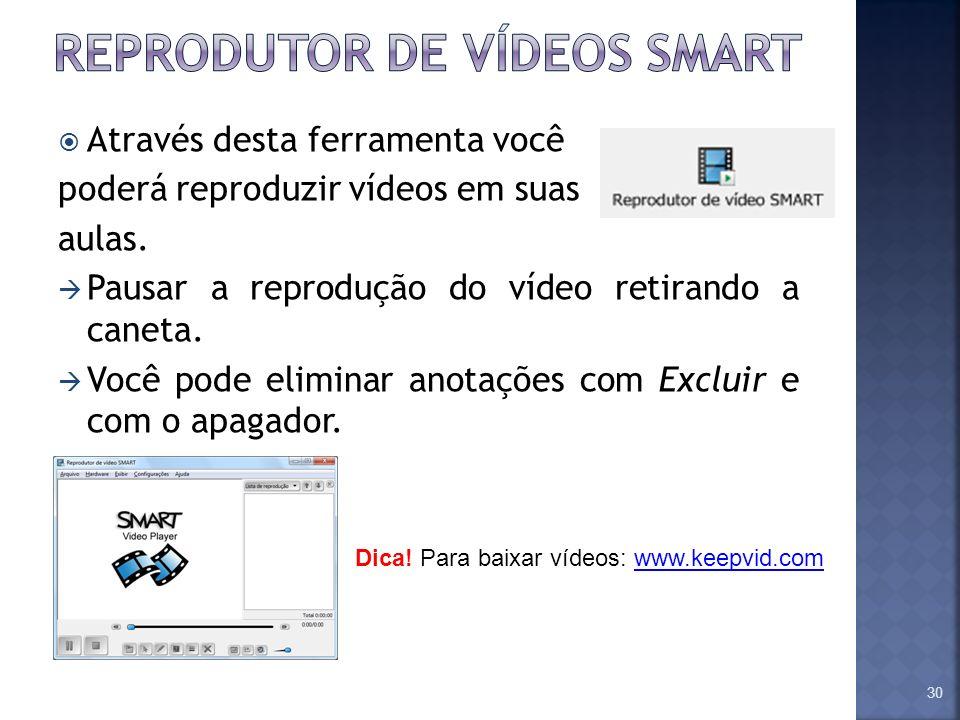 Através desta ferramenta você poderá reproduzir vídeos em suas aulas. Pausar a reprodução do vídeo retirando a caneta. Você pode eliminar anotações co