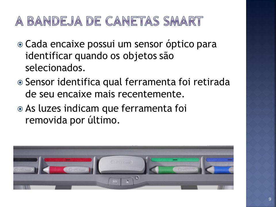 Cada encaixe possui um sensor óptico para identificar quando os objetos são selecionados. Sensor identifica qual ferramenta foi retirada de seu encaix