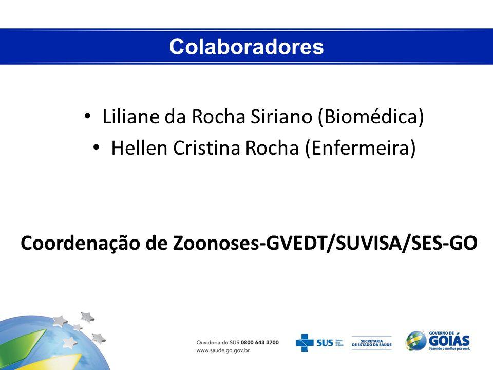 Colaboradores Liliane da Rocha Siriano (Biomédica) Hellen Cristina Rocha (Enfermeira) Coordenação de Zoonoses-GVEDT/SUVISA/SES-GO