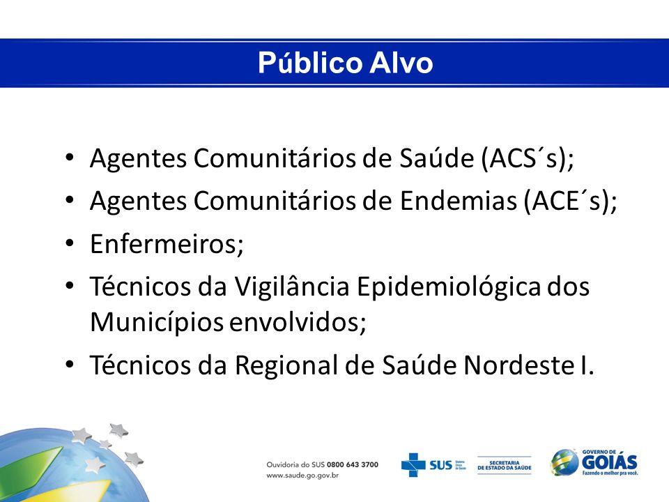 P ú blico Alvo Agentes Comunitários de Saúde (ACS´s); Agentes Comunitários de Endemias (ACE´s); Enfermeiros; Técnicos da Vigilância Epidemiológica dos