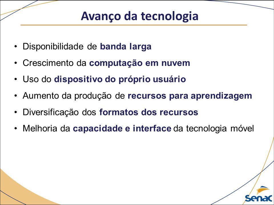 Avanço da tecnologia Disponibilidade de banda larga Crescimento da computação em nuvem Uso do dispositivo do próprio usuário Aumento da produção de recursos para aprendizagem Diversificação dos formatos dos recursos Melhoria da capacidade e interface da tecnologia móvel