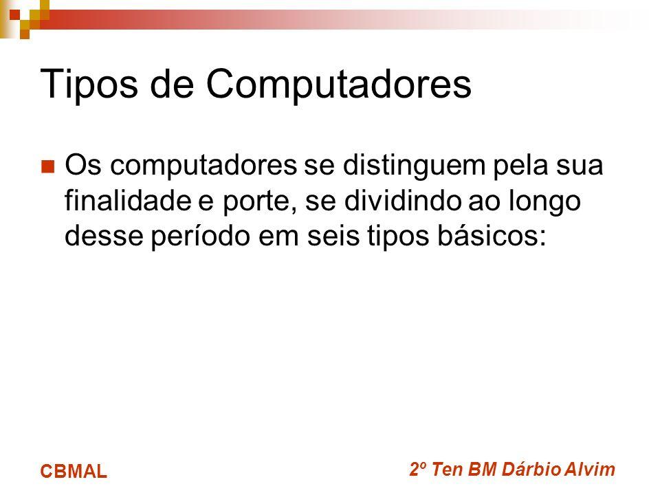 2º Ten BM Dárbio Alvim CBMAL Tipos de Computadores Os computadores se distinguem pela sua finalidade e porte, se dividindo ao longo desse período em s