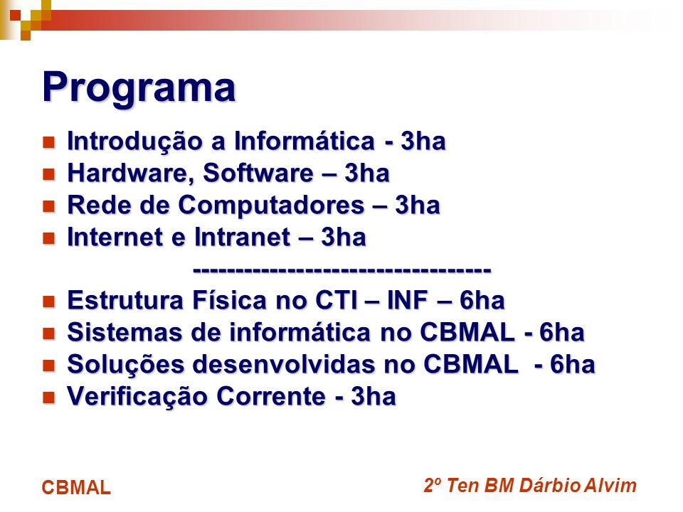 2º Ten BM Dárbio Alvim CBMAL Introdução a Informática A Informática engloba toda atividade relacionada ao desenvolvimento e uso dos computadores que permitam aprimorar e automatizar tarefas em qualquer área de atuação da sociedade.
