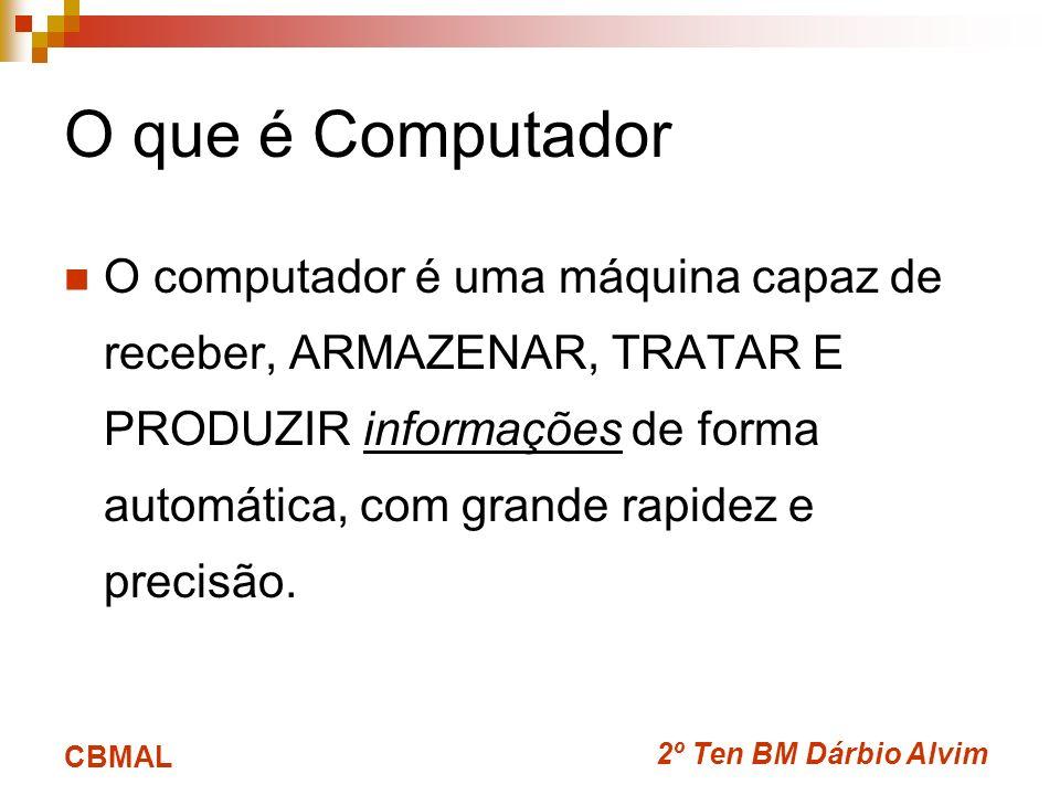 2º Ten BM Dárbio Alvim CBMAL O que é Computador O computador é uma máquina capaz de receber, ARMAZENAR, TRATAR E PRODUZIR informações de forma automát