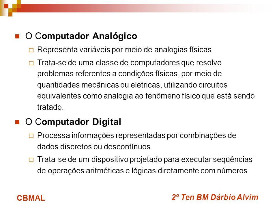 2º Ten BM Dárbio Alvim CBMAL O Computador Analógico Representa variáveis por meio de analogias físicas Trata-se de uma classe de computadores que reso