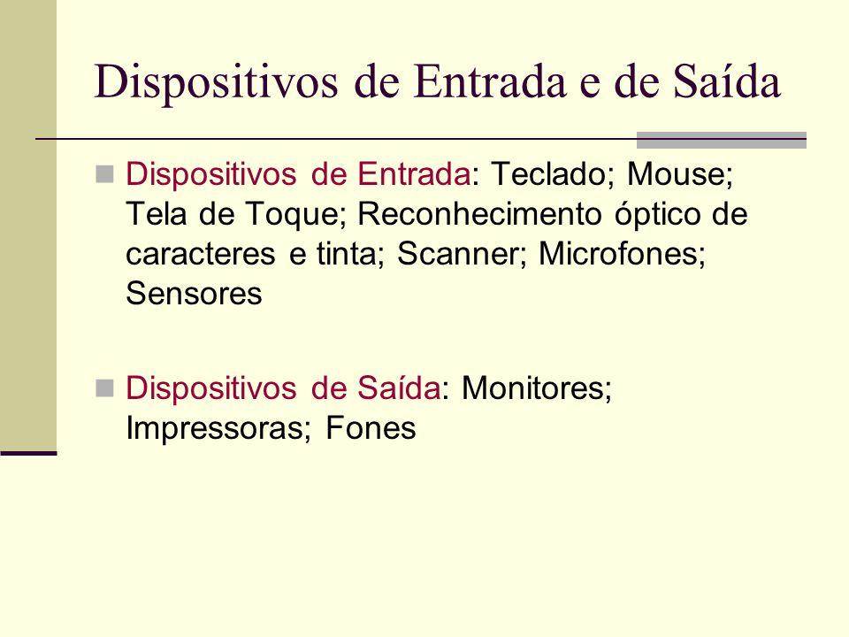 Dispositivos de Entrada e de Saída Dispositivos de Entrada: Teclado; Mouse; Tela de Toque; Reconhecimento óptico de caracteres e tinta; Scanner; Microfones; Sensores Dispositivos de Saída: Monitores; Impressoras; Fones