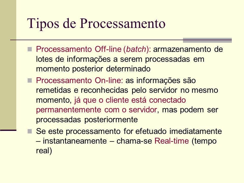 Tipos de Processamento Processamento Off-line (batch): armazenamento de lotes de informações a serem processadas em momento posterior determinado Proc