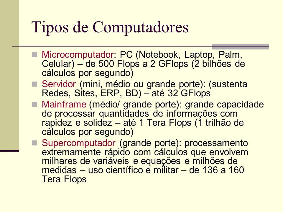Tipos de Computadores Microcomputador: PC (Notebook, Laptop, Palm, Celular) – de 500 Flops a 2 GFlops (2 bilhões de cálculos por segundo) Servidor (mini, médio ou grande porte): (sustenta Redes, Sites, ERP, BD) – até 32 GFlops Mainframe (médio/ grande porte): grande capacidade de processar quantidades de informações com rapidez e solidez – até 1 Tera Flops (1 trilhão de cálculos por segundo) Supercomputador (grande porte): processamento extremamente rápido com cálculos que envolvem milhares de variáveis e equações e milhões de medidas – uso científico e militar – de 136 a 160 Tera Flops