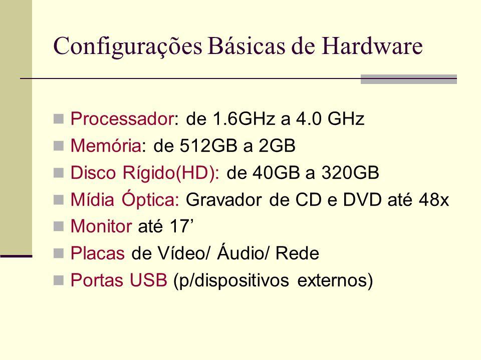 Configurações Básicas de Hardware Processador: de 1.6GHz a 4.0 GHz Memória: de 512GB a 2GB Disco Rígido(HD): de 40GB a 320GB Mídia Óptica: Gravador de CD e DVD até 48x Monitor até 17 Placas de Vídeo/ Áudio/ Rede Portas USB (p/dispositivos externos)