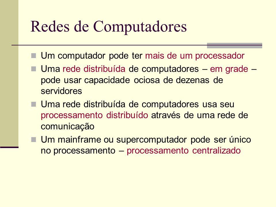 Redes de Computadores Um computador pode ter mais de um processador Uma rede distribuída de computadores – em grade – pode usar capacidade ociosa de dezenas de servidores Uma rede distribuída de computadores usa seu processamento distribuído através de uma rede de comunicação Um mainframe ou supercomputador pode ser único no processamento – processamento centralizado