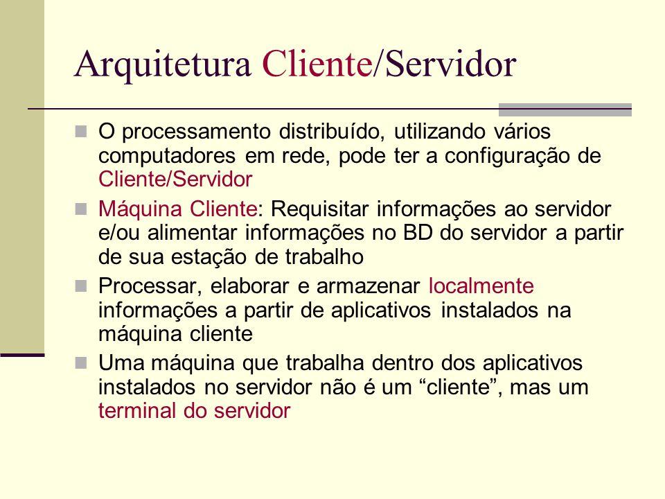 Arquitetura Cliente/Servidor O processamento distribuído, utilizando vários computadores em rede, pode ter a configuração de Cliente/Servidor Máquina