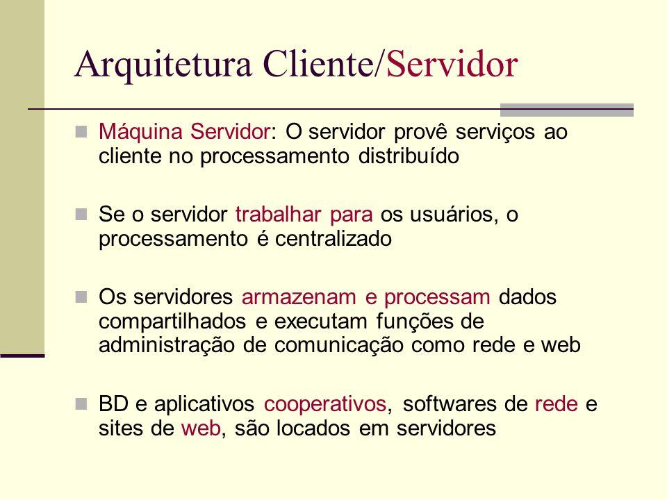 Arquitetura Cliente/Servidor Máquina Servidor: O servidor provê serviços ao cliente no processamento distribuído Se o servidor trabalhar para os usuár