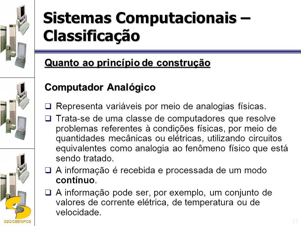 DSC/CEEI/UFCG 11 Quanto ao princípio de construção Computador Analógico Representa variáveis por meio de analogias físicas.