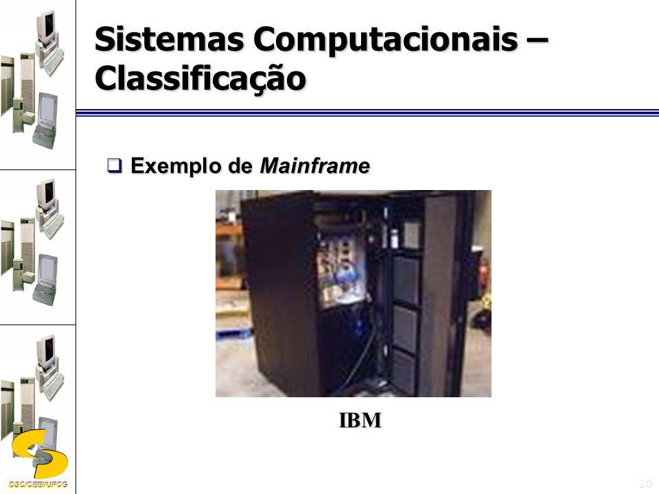 DSC/CEEI/UFCG 20 Exemplo de Mainframe Exemplo de Mainframe Sistemas Computacionais – Classificação IBM