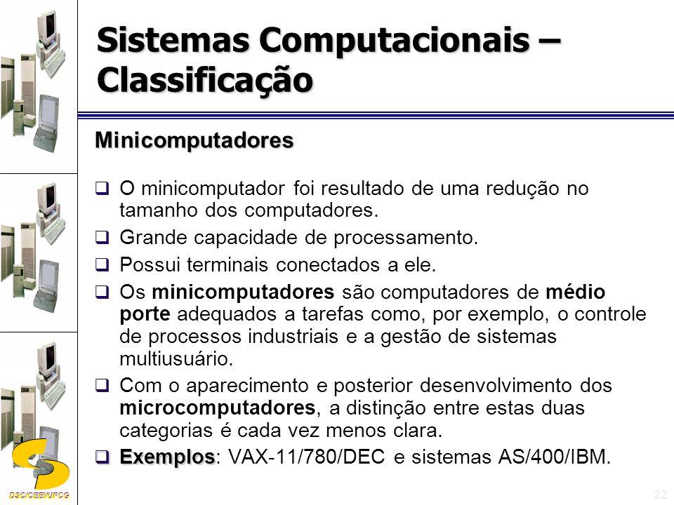 DSC/CEEI/UFCG 22 Minicomputadores O minicomputador foi resultado de uma redução no tamanho dos computadores.