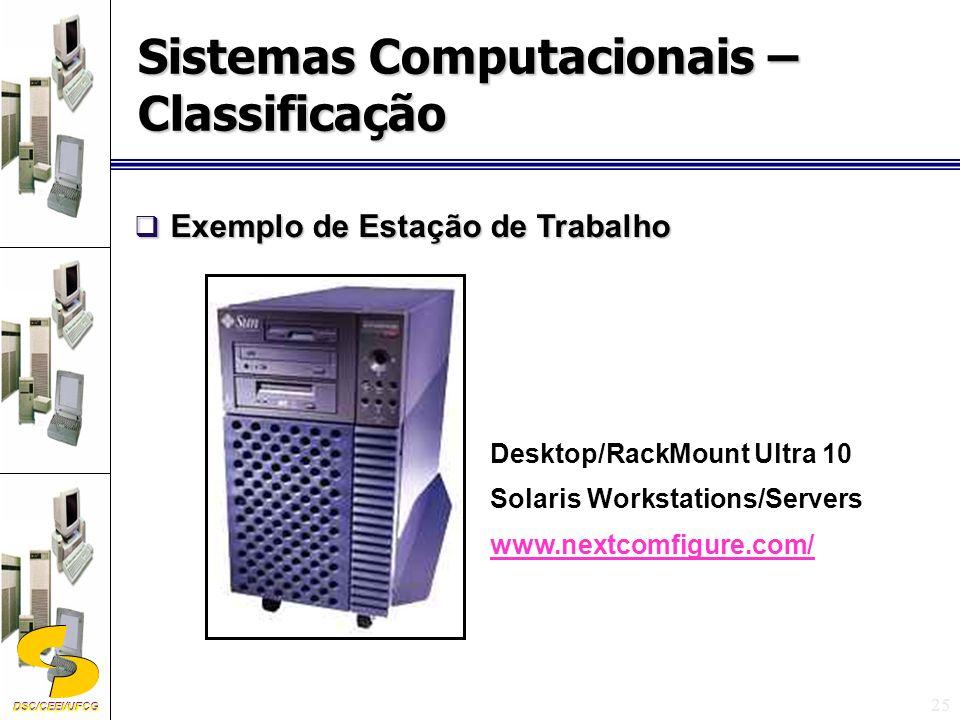 DSC/CEEI/UFCG 25 Desktop/RackMount Ultra 10 Solaris Workstations/Servers www.nextcomfigure.com/ Exemplo de Estação de Trabalho Exemplo de Estação de Trabalho Sistemas Computacionais – Classificação