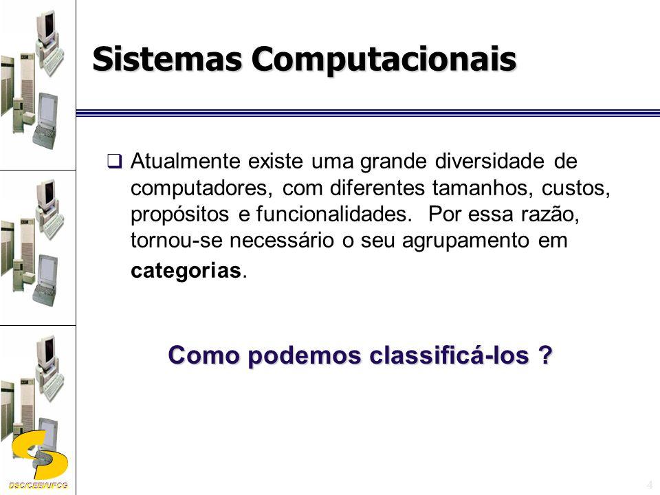 DSC/CEEI/UFCG 15 quanto à utilizaçãoComputador Científico Computador Comercial Os computadores também podem ser classificados quanto à utilização, em Computador Científico e Computador Comercial.
