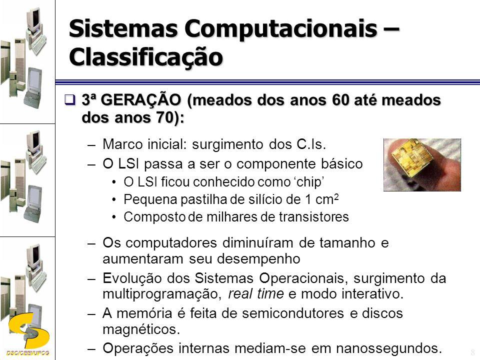 DSC/CEEI/UFCG 9 4ª GERAÇÃO (meados dos anos 70 a início dos anos 90): 4ª GERAÇÃO (meados dos anos 70 a início dos anos 90): –Tem como marco inicial o surgimento do microprocessador.