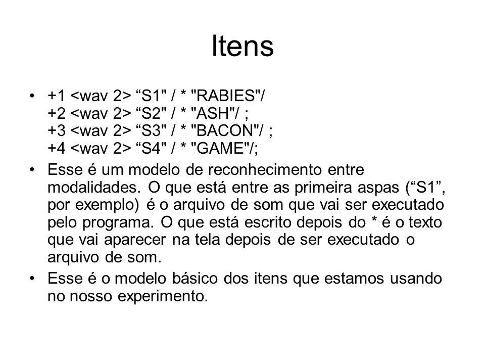 Itens +1 S1 / * RABIES / +2 S2 / * ASH / ; +3 S3 / * BACON / ; +4 S4 / * GAME /; Esse é um modelo de reconhecimento entre modalidades.