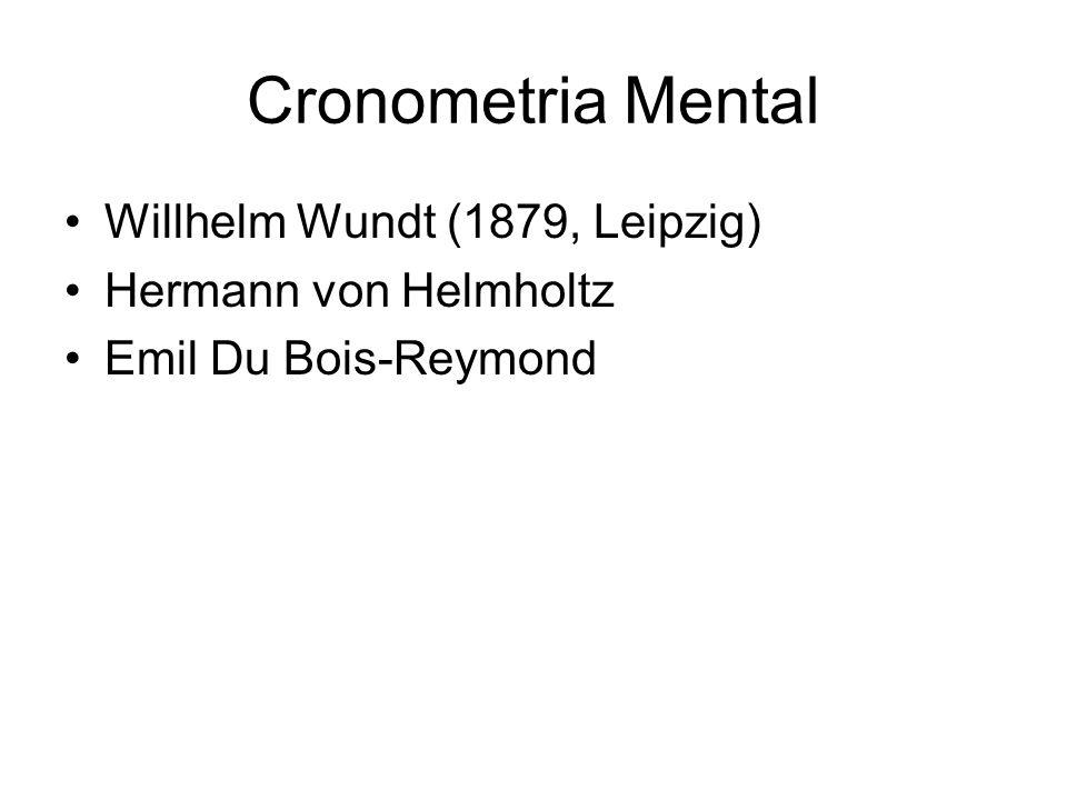 Cronometria Mental Willhelm Wundt (1879, Leipzig) Hermann von Helmholtz Emil Du Bois-Reymond