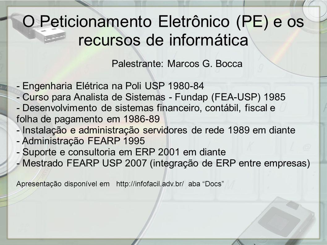 Palestrante: Marcos G. Bocca - Engenharia Elétrica na Poli USP 1980-84 - Curso para Analista de Sistemas - Fundap (FEA-USP) 1985 - Desenvolvimento de