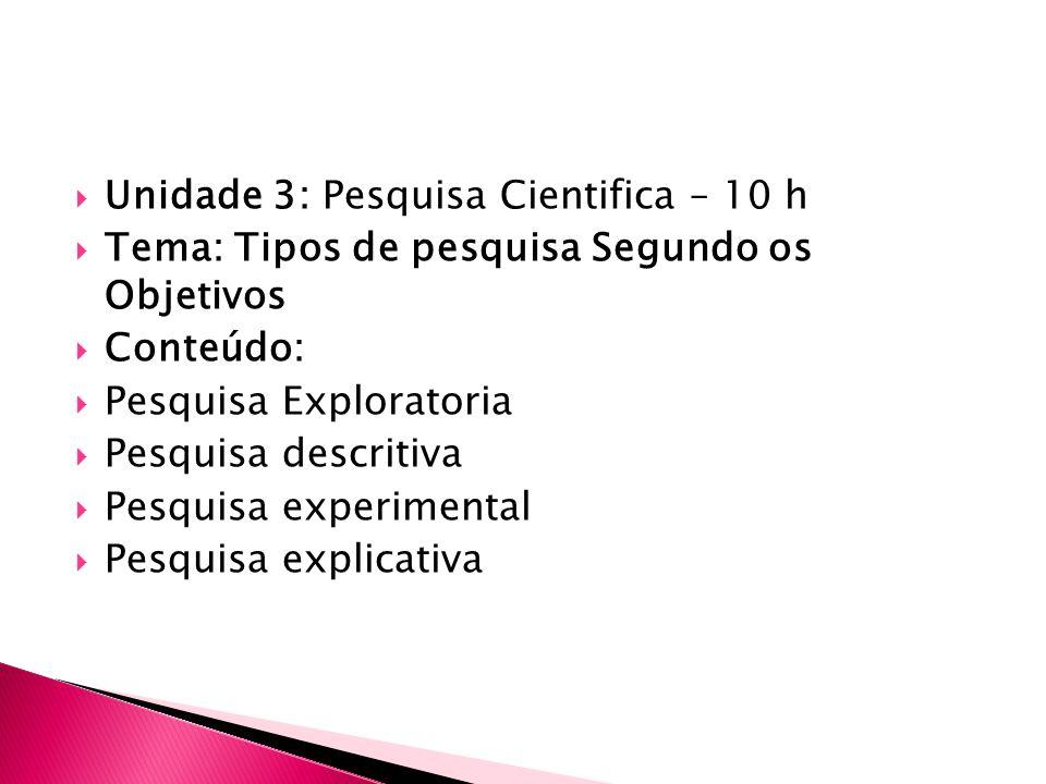 Unidade 3: Pesquisa Cientifica – 10 h Tema: Tipos de pesquisa Segundo os Objetivos Conteúdo: Pesquisa Exploratoria Pesquisa descritiva Pesquisa experimental Pesquisa explicativa