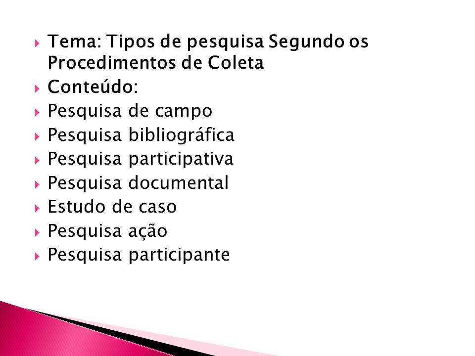 Tema: Tipos de pesquisa Segundo os Procedimentos de Coleta Conteúdo: Pesquisa de campo Pesquisa bibliográfica Pesquisa participativa Pesquisa documental Estudo de caso Pesquisa ação Pesquisa participante