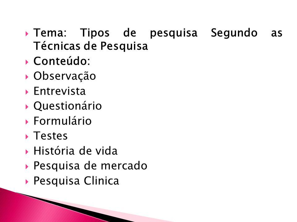 Tema: Tipos de pesquisa Segundo as Técnicas de Pesquisa Conteúdo: Observação Entrevista Questionário Formulário Testes História de vida Pesquisa de mercado Pesquisa Clinica