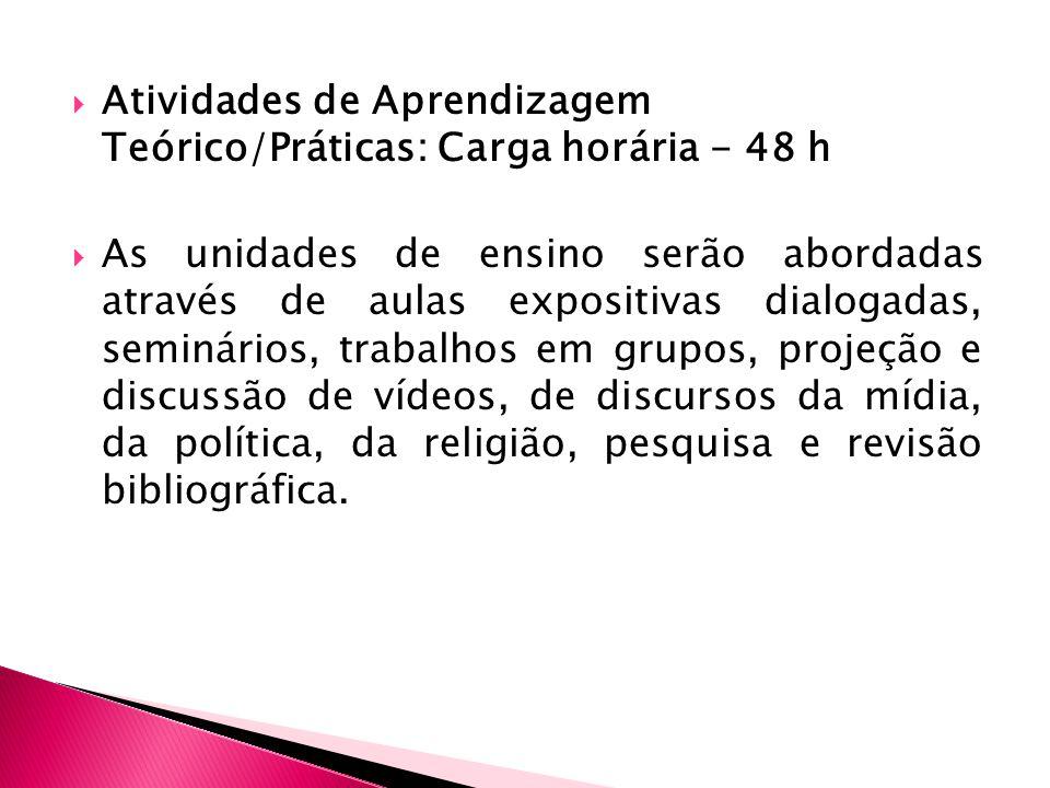 Atividades de Aprendizagem Teórico/Práticas: Carga horária - 48 h As unidades de ensino serão abordadas através de aulas expositivas dialogadas, semin