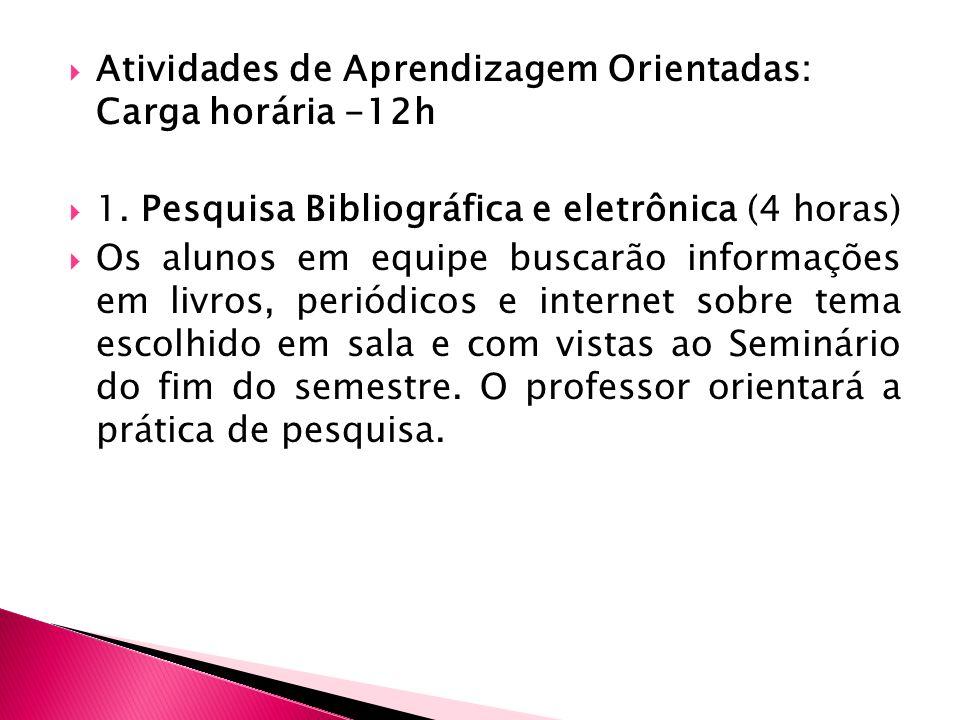 Atividades de Aprendizagem Orientadas: Carga horária -12h 1.