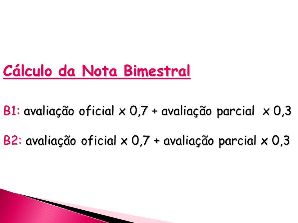 Cálculo da Nota Bimestral B1: avaliação oficial x 0,7 + avaliação parcial x 0,3 B2: avaliação oficial x 0,7 + avaliação parcial x 0,3