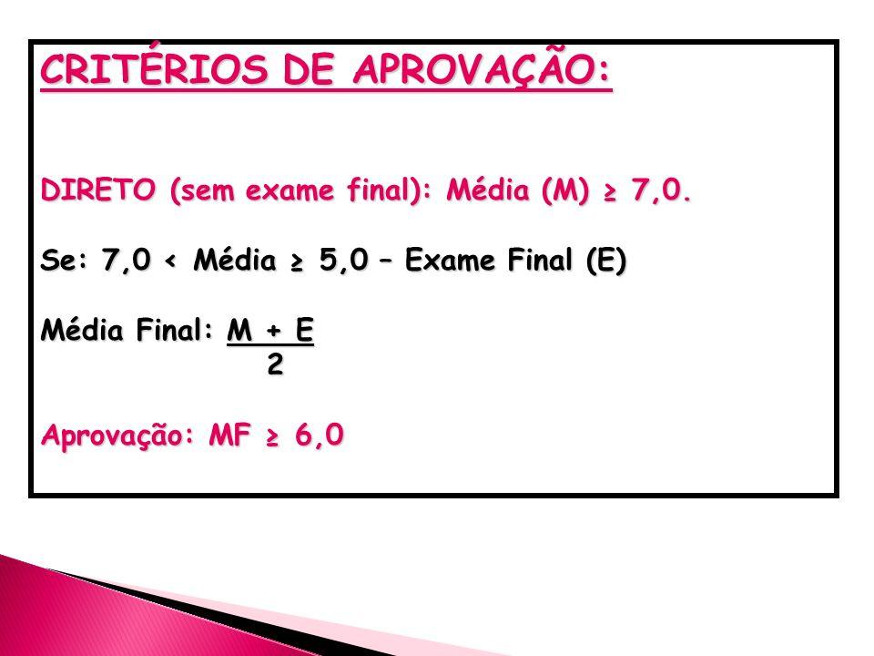 CRITÉRIOS DE APROVAÇÃO: DIRETO (sem exame final): Média (M) 7,0. Se: 7,0 < Média 5,0 – Exame Final (E) Média Final: M + E 2 Aprovação: MF 6,0