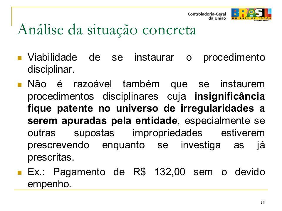 10 Análise da situação concreta Viabilidade de se instaurar o procedimento disciplinar. Não é razoável também que se instaurem procedimentos disciplin