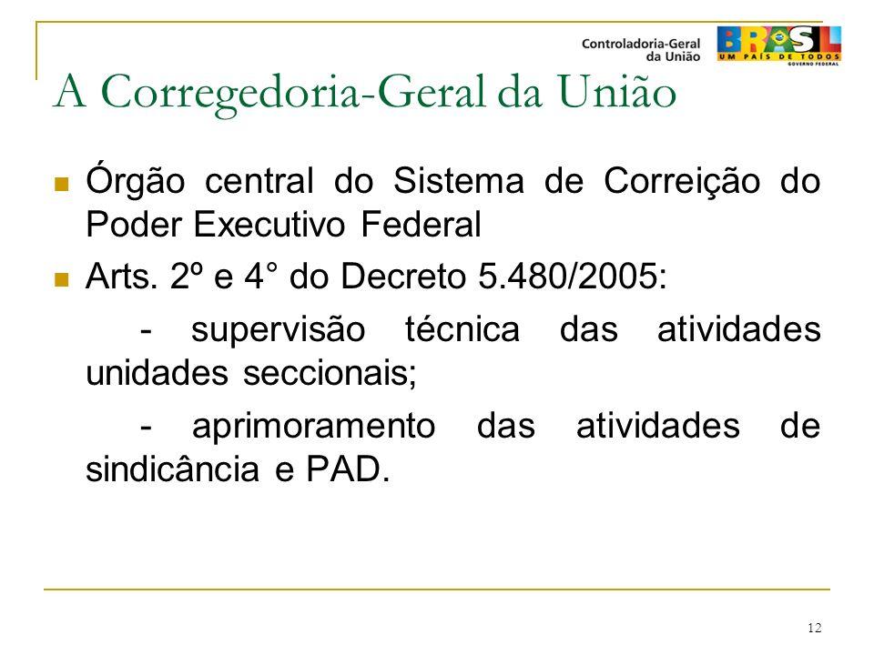 12 A Corregedoria-Geral da União Órgão central do Sistema de Correição do Poder Executivo Federal Arts. 2º e 4° do Decreto 5.480/2005: - supervisão té