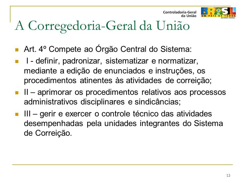 13 A Corregedoria-Geral da União Art. 4º Compete ao Órgão Central do Sistema: I - definir, padronizar, sistematizar e normatizar, mediante a edição de