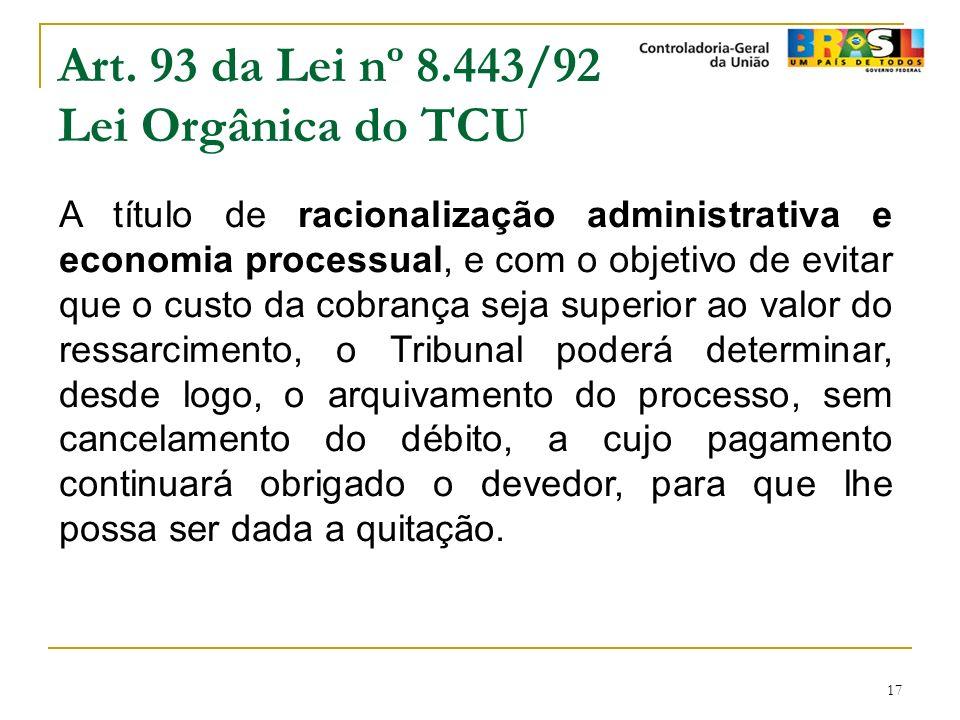 17 Art. 93 da Lei nº 8.443/92 Lei Orgânica do TCU A título de racionalização administrativa e economia processual, e com o objetivo de evitar que o cu