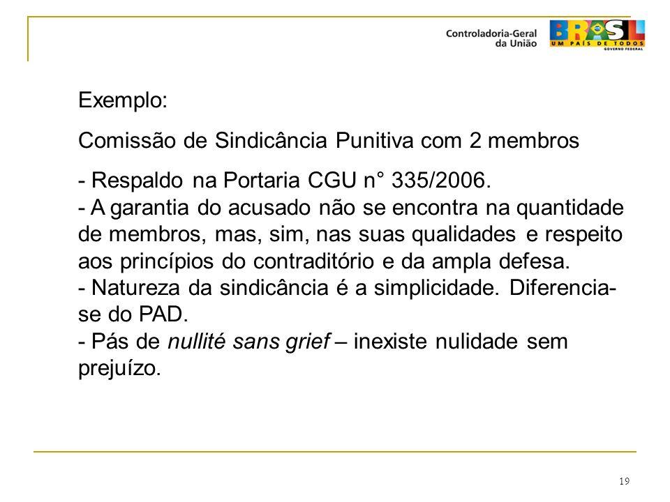 19 Exemplo: Comissão de Sindicância Punitiva com 2 membros - Respaldo na Portaria CGU n° 335/2006. - A garantia do acusado não se encontra na quantida