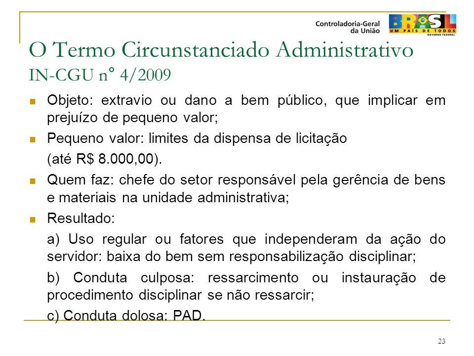 23 O Termo Circunstanciado Administrativo IN-CGU n° 4/2009 Objeto: extravio ou dano a bem público, que implicar em prejuízo de pequeno valor; Pequeno