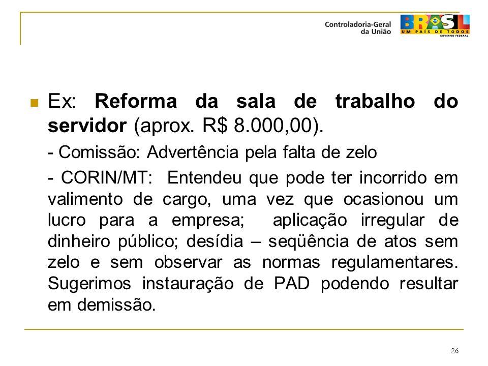 26 Ex: Reforma da sala de trabalho do servidor (aprox. R$ 8.000,00). - Comissão: Advertência pela falta de zelo - CORIN/MT: Entendeu que pode ter inco
