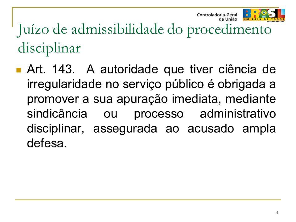 4 Juízo de admissibilidade do procedimento disciplinar Art. 143. A autoridade que tiver ciência de irregularidade no serviço público é obrigada a prom