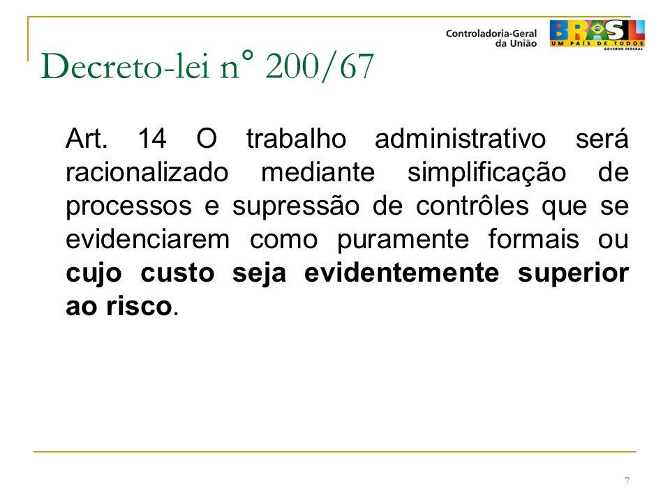 7 Decreto-lei n° 200/67 Art. 14 O trabalho administrativo será racionalizado mediante simplificação de processos e supressão de contrôles que se evide