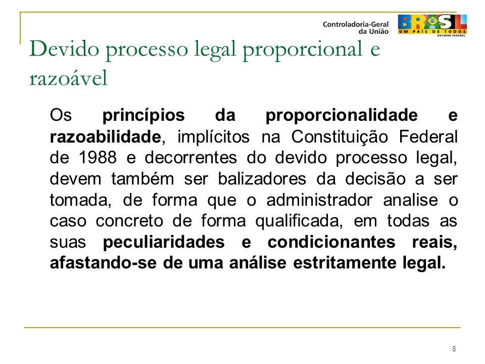 8 Devido processo legal proporcional e razoável Os princípios da proporcionalidade e razoabilidade, implícitos na Constituição Federal de 1988 e decor