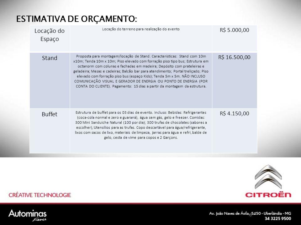 8 ESTIMATIVA DE ORÇAMENTO: Locação do Espaço Locação do terreno para realização do evento R$ 5.000,00 Stand Proposta para montagem/locação de Stand.