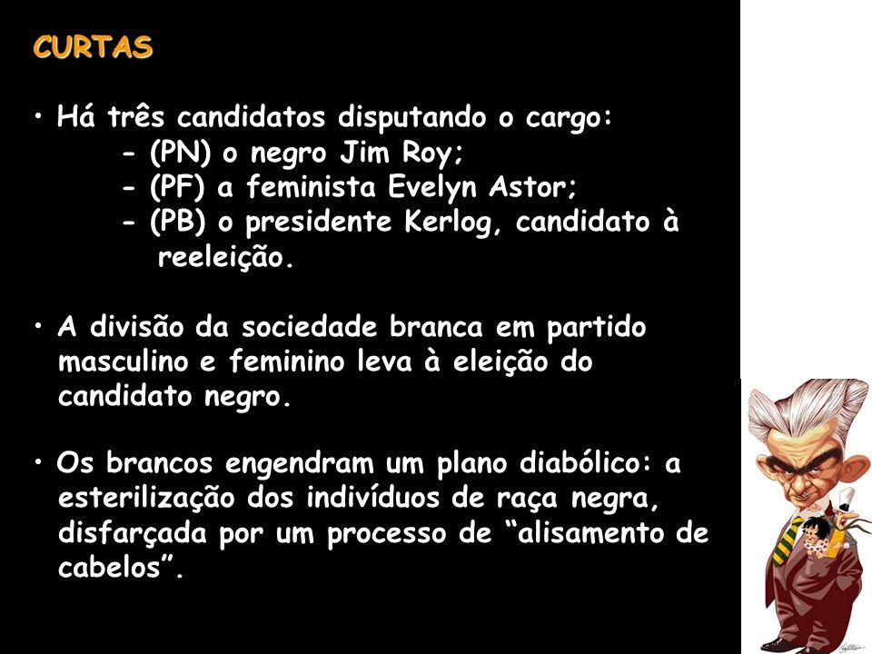 CURTAS Há três candidatos disputando o cargo: - (PN) o negro Jim Roy; - (PF) a feminista Evelyn Astor; - (PB) o presidente Kerlog, candidato à reeleiç