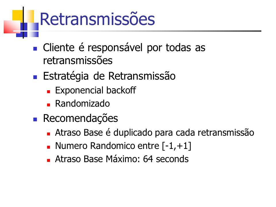 Retransmissões Cliente é responsável por todas as retransmissões Estratégia de Retransmissão Exponencial backoff Randomizado Recomendações Atraso Base