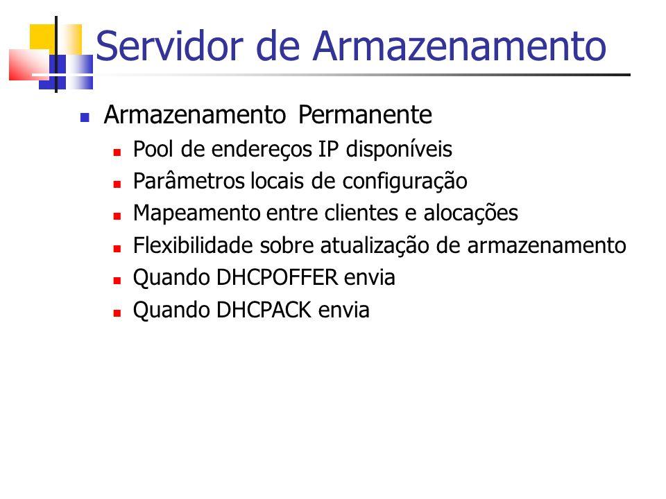 Servidor de Armazenamento Armazenamento Permanente Pool de endereços IP disponíveis Parâmetros locais de configuração Mapeamento entre clientes e aloc
